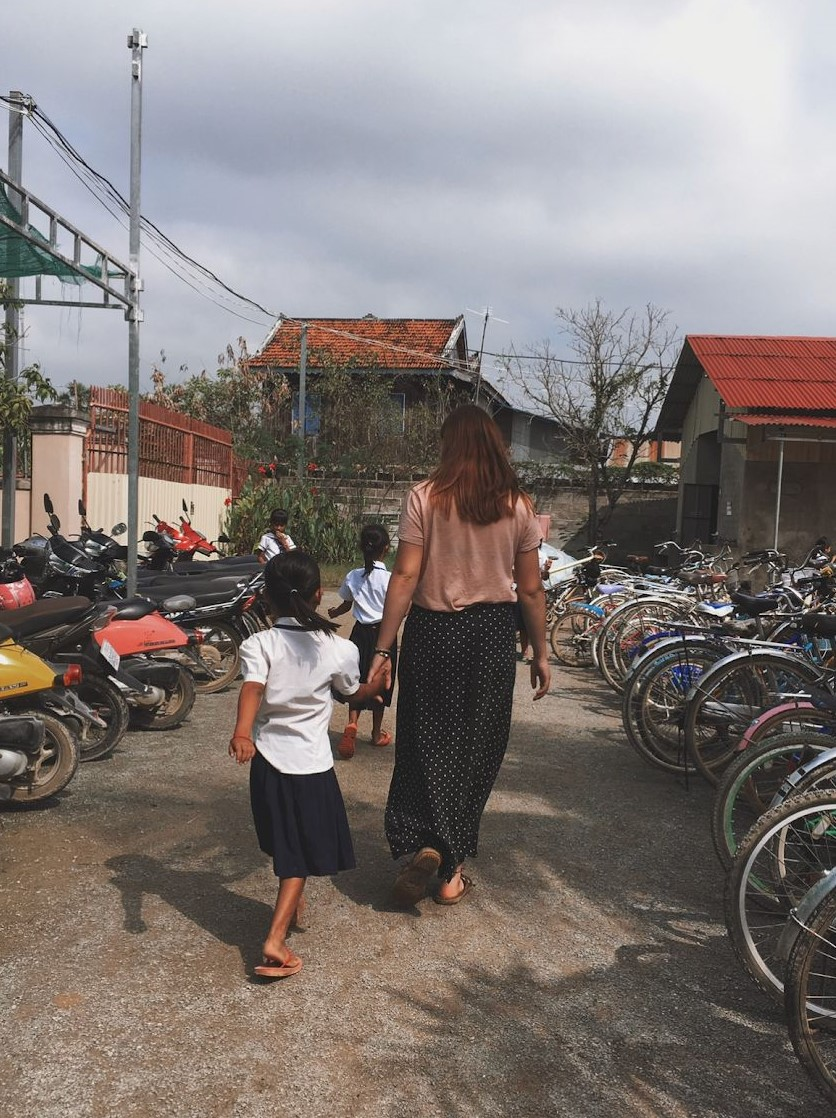 Walking a Girl to School in Cambodia